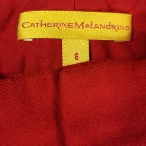 CATHERINE MALANDRINO RED wool pants size 6